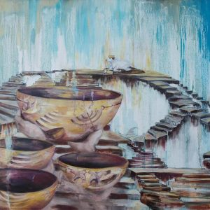 karin terblanche art painting of golden bowls