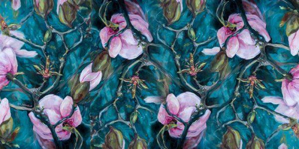 Magnolia themed scarf