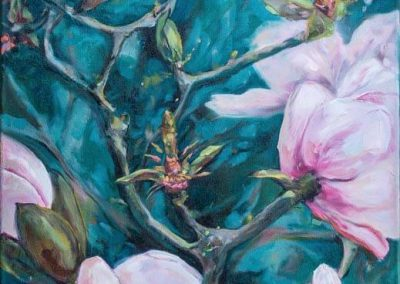 karin terblanche prophetic artist painting of pink magnolias