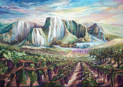 karin terblanche prophetic painting of mountains and waterfalls