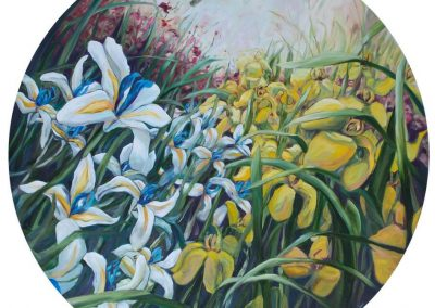 painting by karin terblanche about flowers in a garden