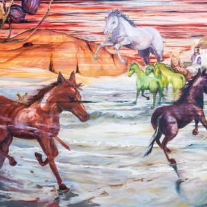 karin terblanche painting of the book of revelation showing horses etc